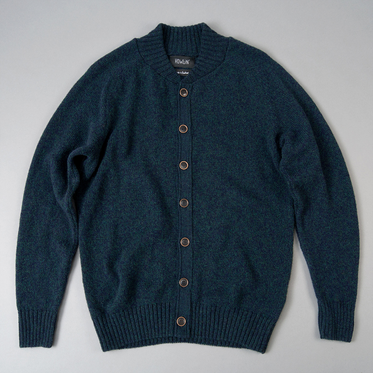 Howlin Four Eyes Cardigan, Navy Green Mix