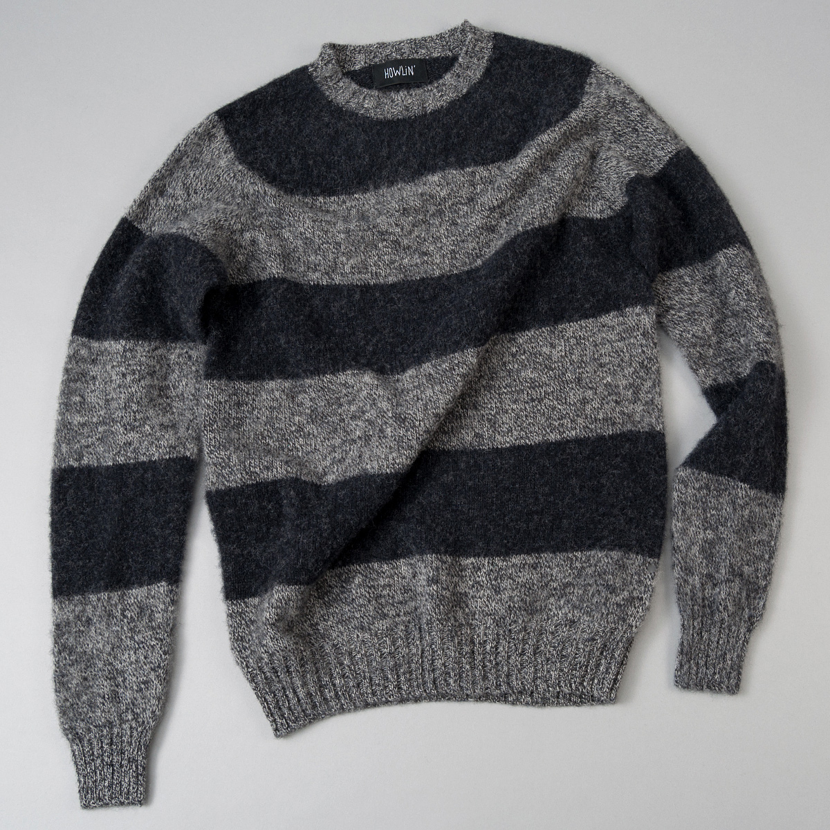 Howlin Little Walter Sweater, Grey Charcoal Stripe