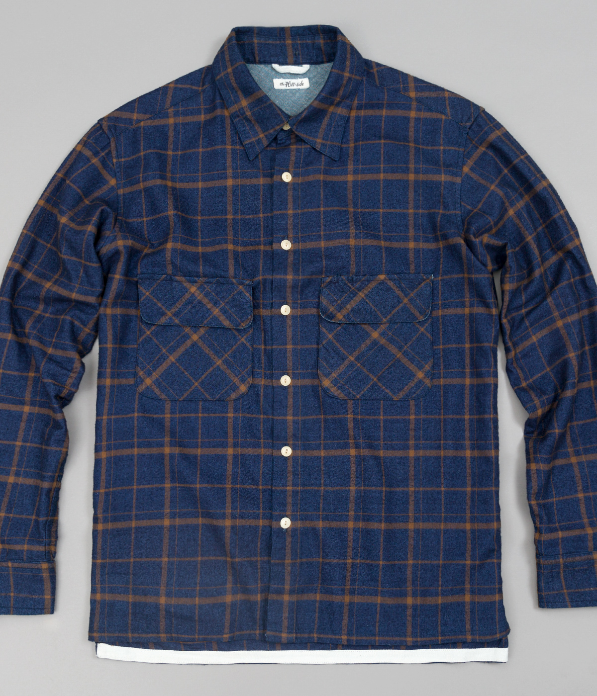 The Hill-Side Coupe Shirt, Indigo / Brown Flannel Check - Main Image