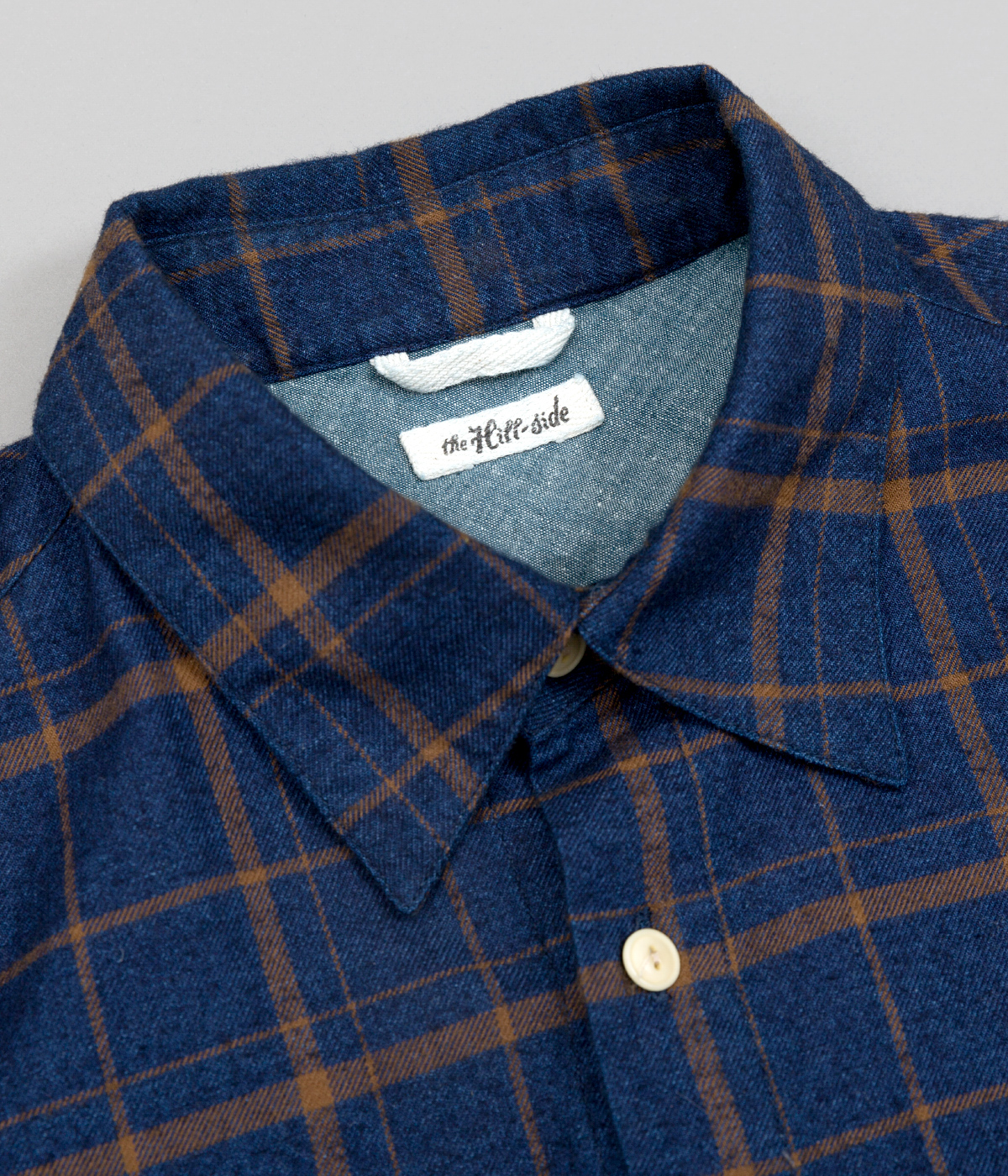 The Hill-Side Coupe Shirt, Indigo / Brown Flannel Check - Collar