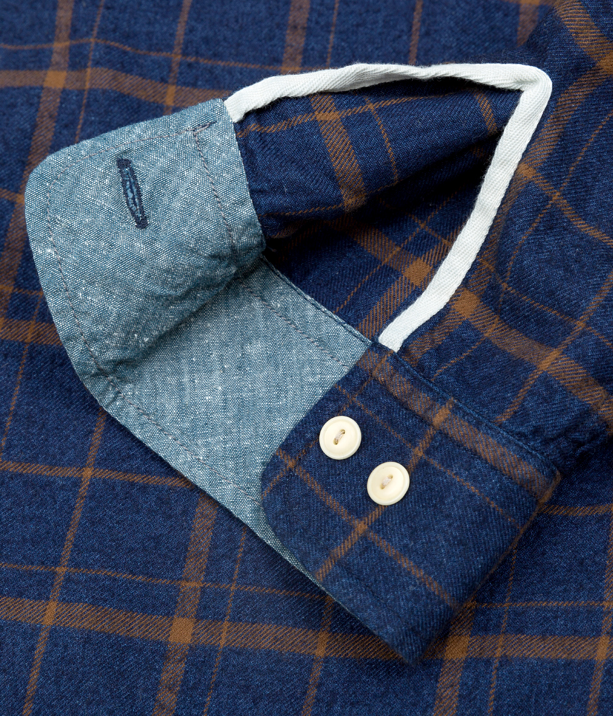 The Hill-Side Coupe Shirt, Indigo / Brown Flannel Check - Cuff Detail
