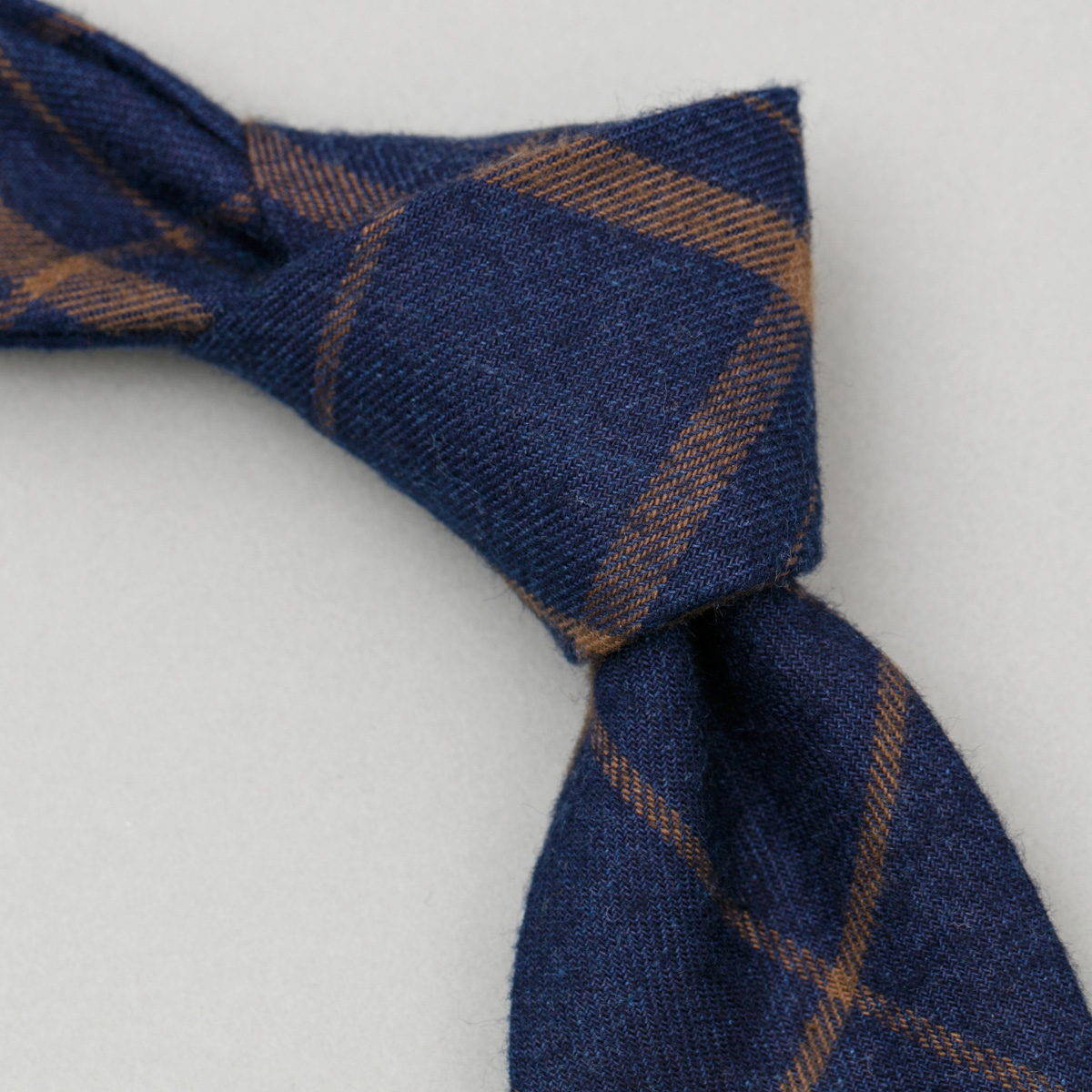 Indigo / Brown Flannel Check Necktie