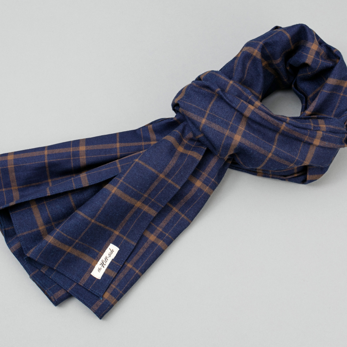 Indigo / Brown Flannel Check Scarf
