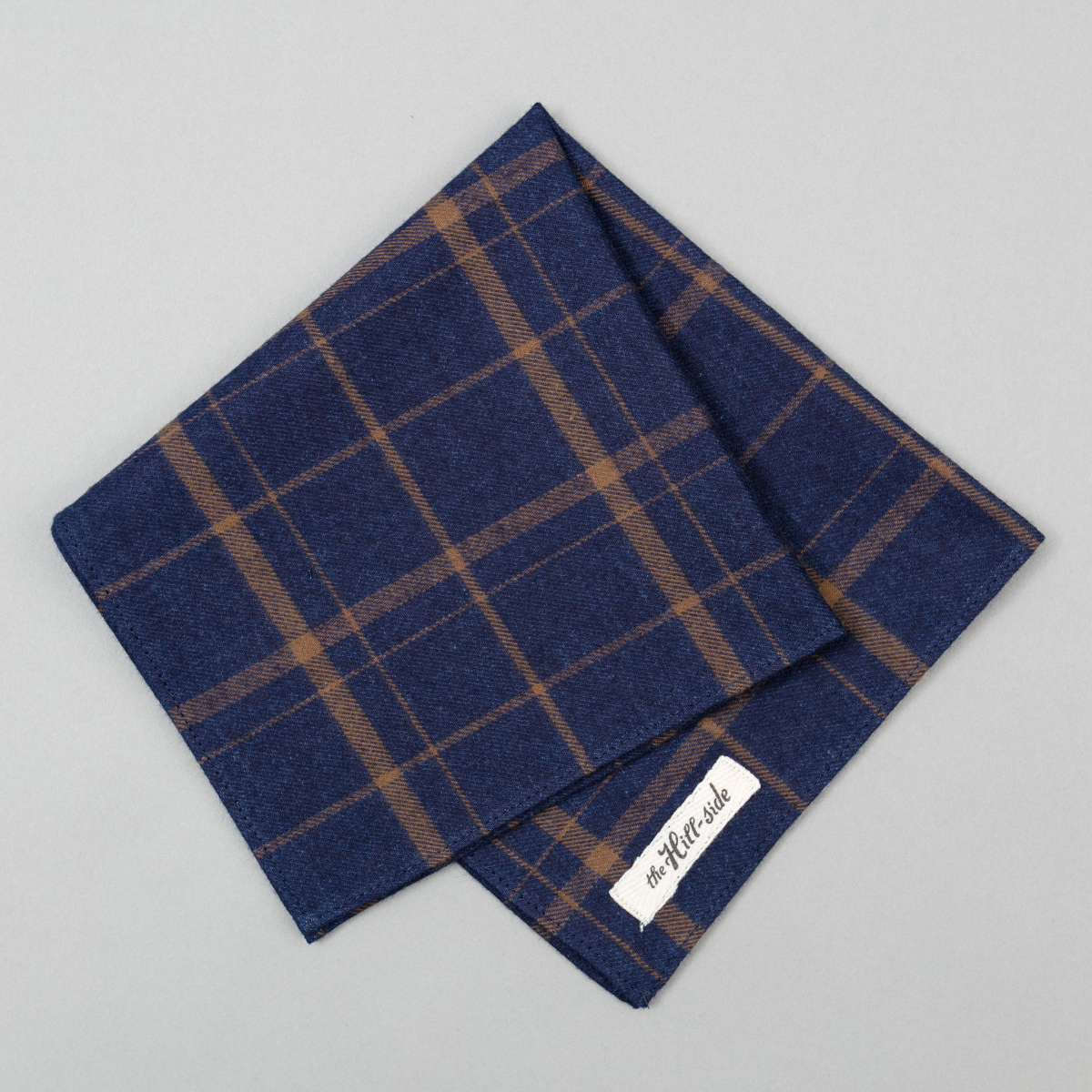 Indigo / Brown Flannel Check Pocket Square